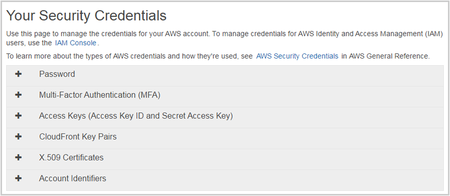 access credentials amazon