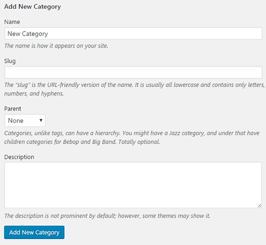 add new category wordpress