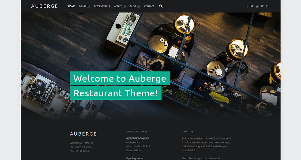 auberge free wordpress theme 2017
