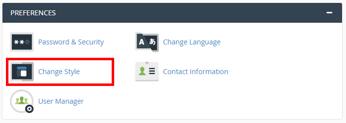 change style cpanel how to