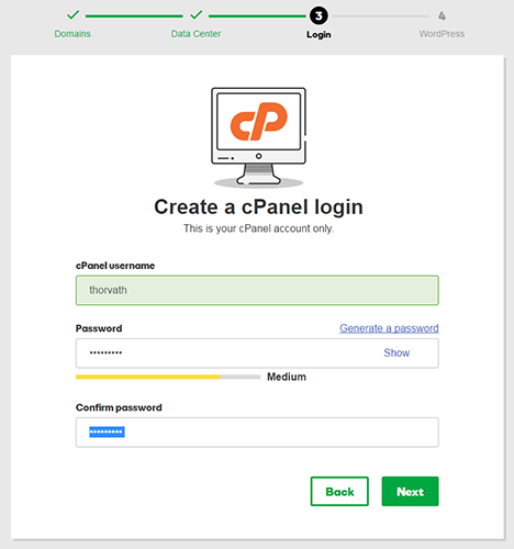 create cpanel login