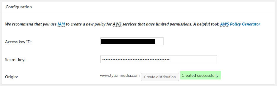create distribution amazon cloudfront