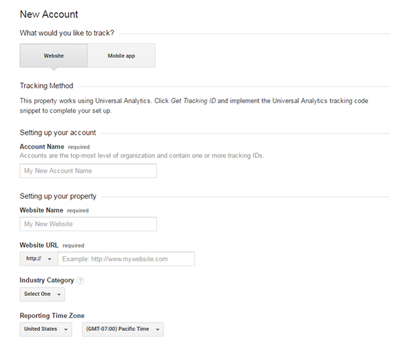 creating new account analytics