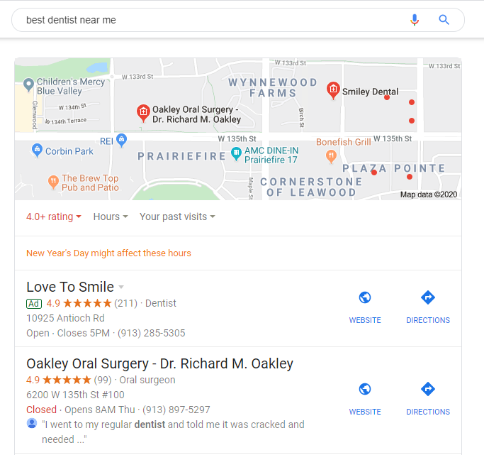 dentists near me search