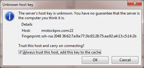 filezilla unknown host key
