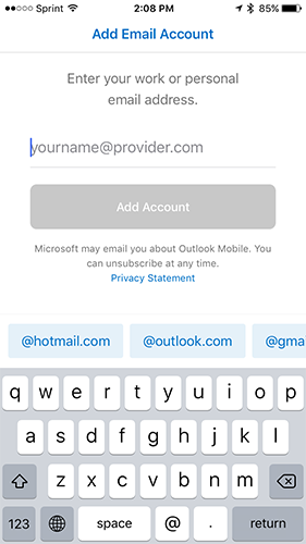 iphone outlook add email