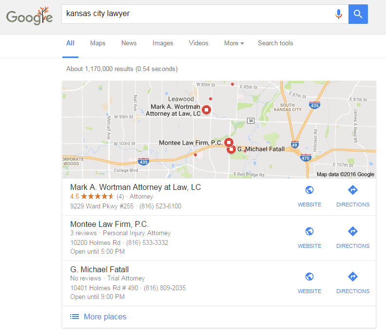 kansas city lawyer local seo