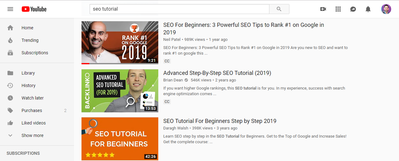 learn seo on youtube