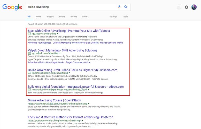 online advertising adwords