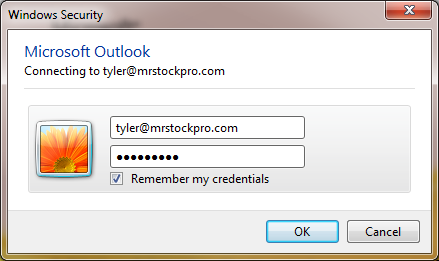 remember my info outlook