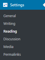 settings reading wordpress