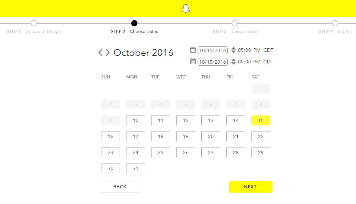 snapchat geofilter choose date