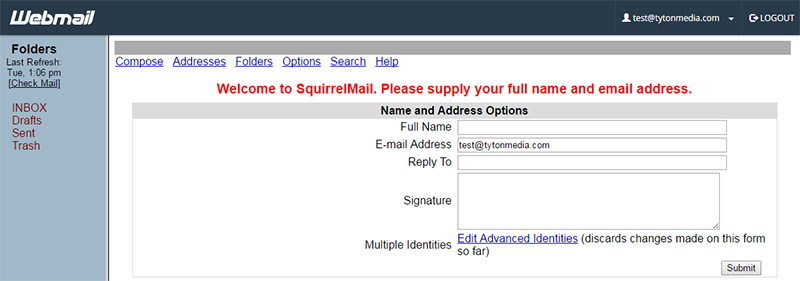 squirrel mail cpanel how to