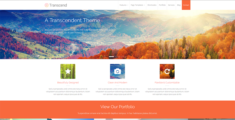 transcend free wordpress wp theme 2017