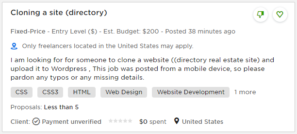 upwork job listing