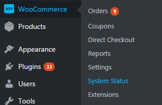 woocommerce system status
