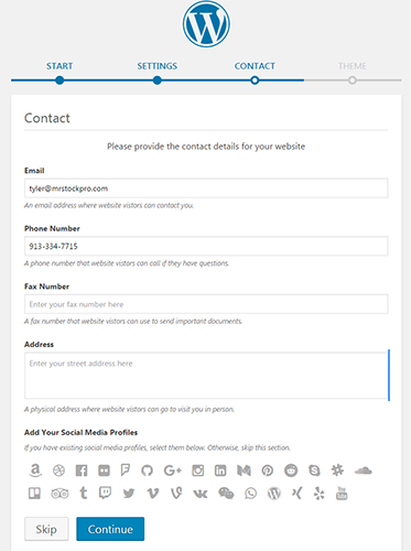 wordpress contact settings