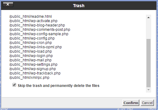 wordpress trash