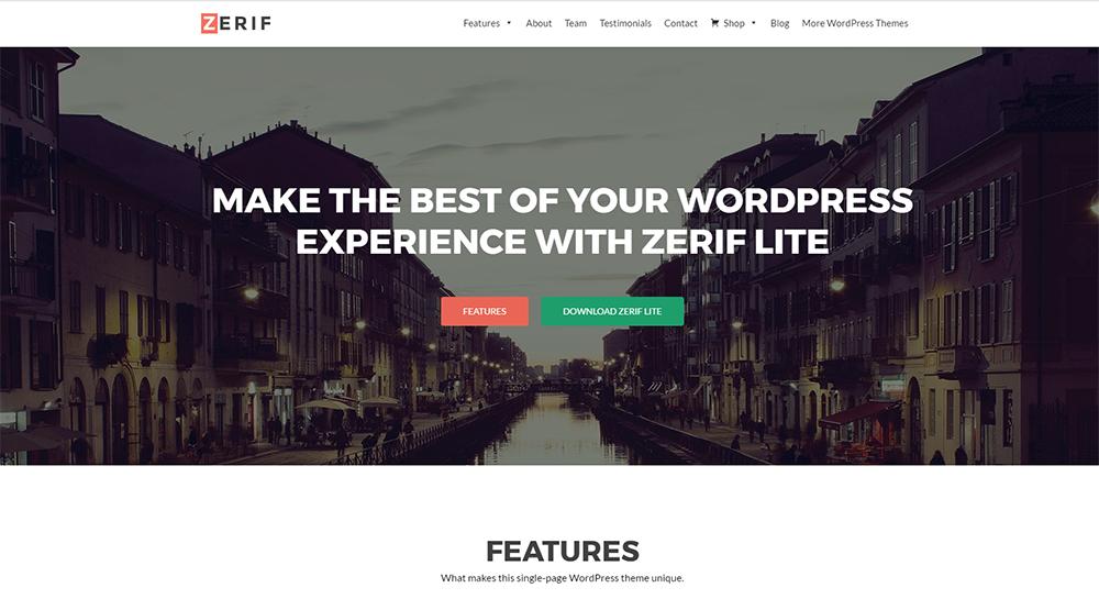 zerif free wordpress theme 2017